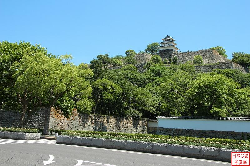 Marugame Castle The high stone wall and base of the main tower